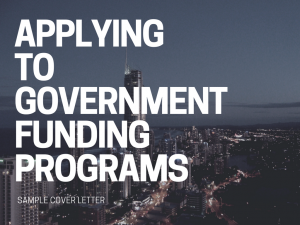 Applying to government funding programs cover letter sample
